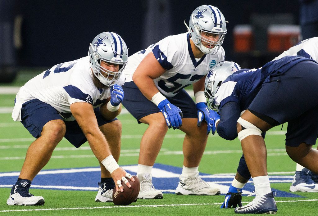 Dallas Cowboys center Travis Frederick (72) and offensive guard Connor Williams (52) line up for a play during a team OTA practice at The Star on Wednesday, June 5, 2019, in Frisco. (Smiley N. Pool/The Dallas Morning News)