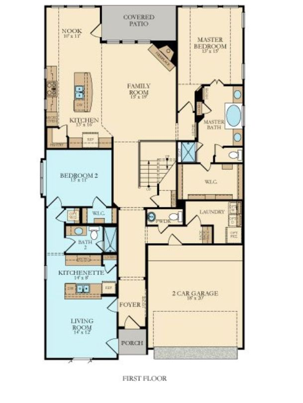 Lennar's NextGen Home floorpan includes a separate living unit for family members or defendants.