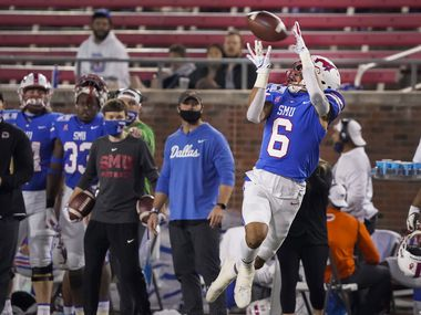 SMU wide receiver Austin Upshaw (6) hauls in a 42-yard touchdown pass during the third quarter of an NCAA football game against Navy at Ford Stadium on Saturday, Oct. 31, 2020, in Dallas.