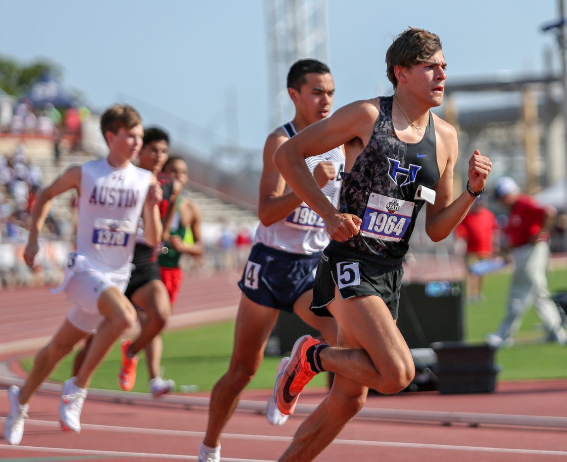 Hebron's Isaac Barrera competes in the 6A Boys 800 meter run during the UIL state track meet at the Mike A. Myers Stadium, at the University of Texas on May 8, 2021 in Austin, Texas.