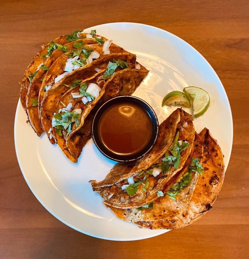 Vegan jackfruit birria tacos from Rellenas in Dallas