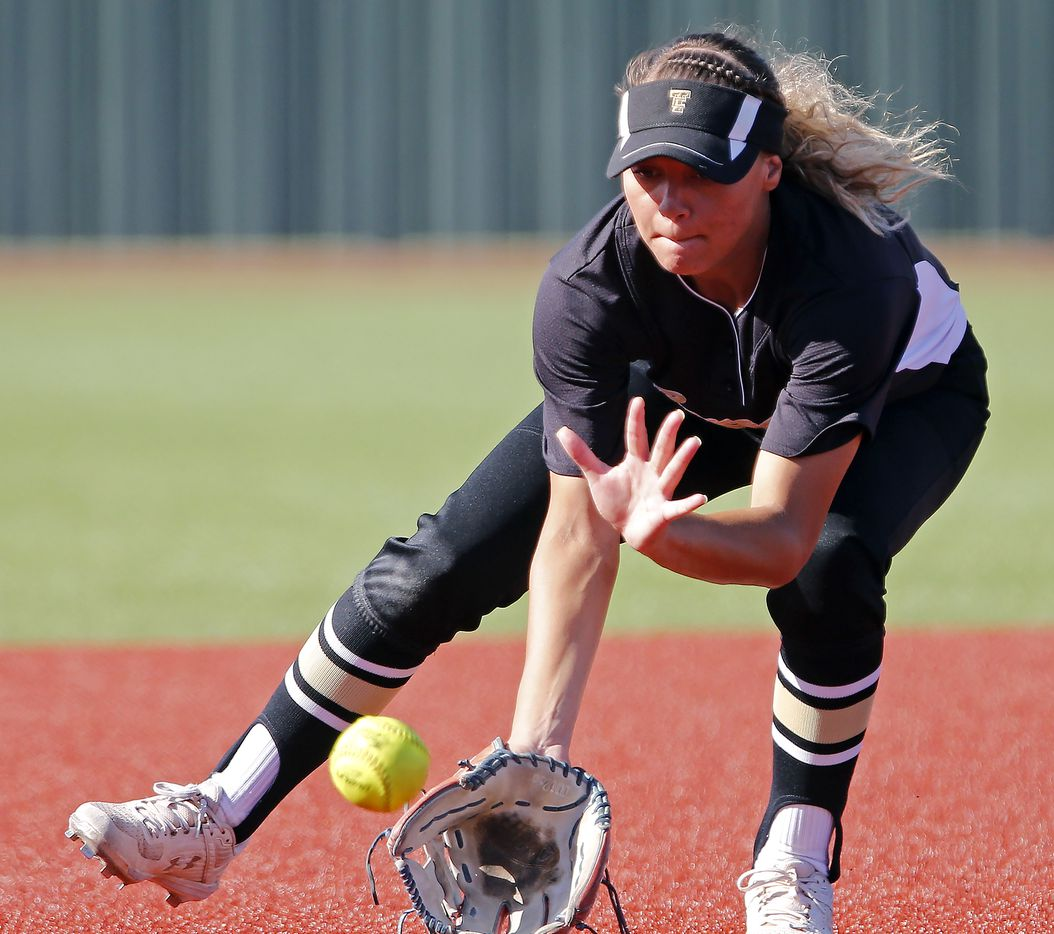 The Colony shortstop Jayda Coleman (10) fields a grounder and makes the throw for an out in the second inning as The Colony High School played Little Elm High School in a playoff game held at Prosper High School on Tuesday, May 21, 2019.  (Stewart F. House/Special Contributor)
