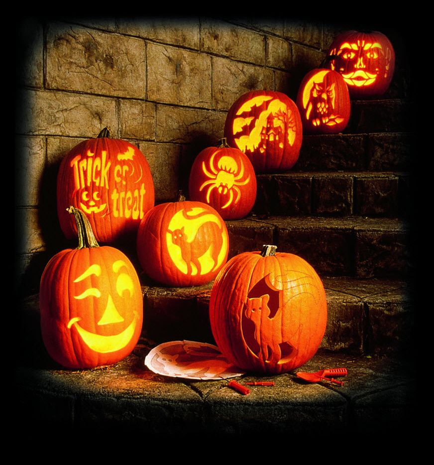 Carved pumpkins showcase various designs just in time for Halloween.