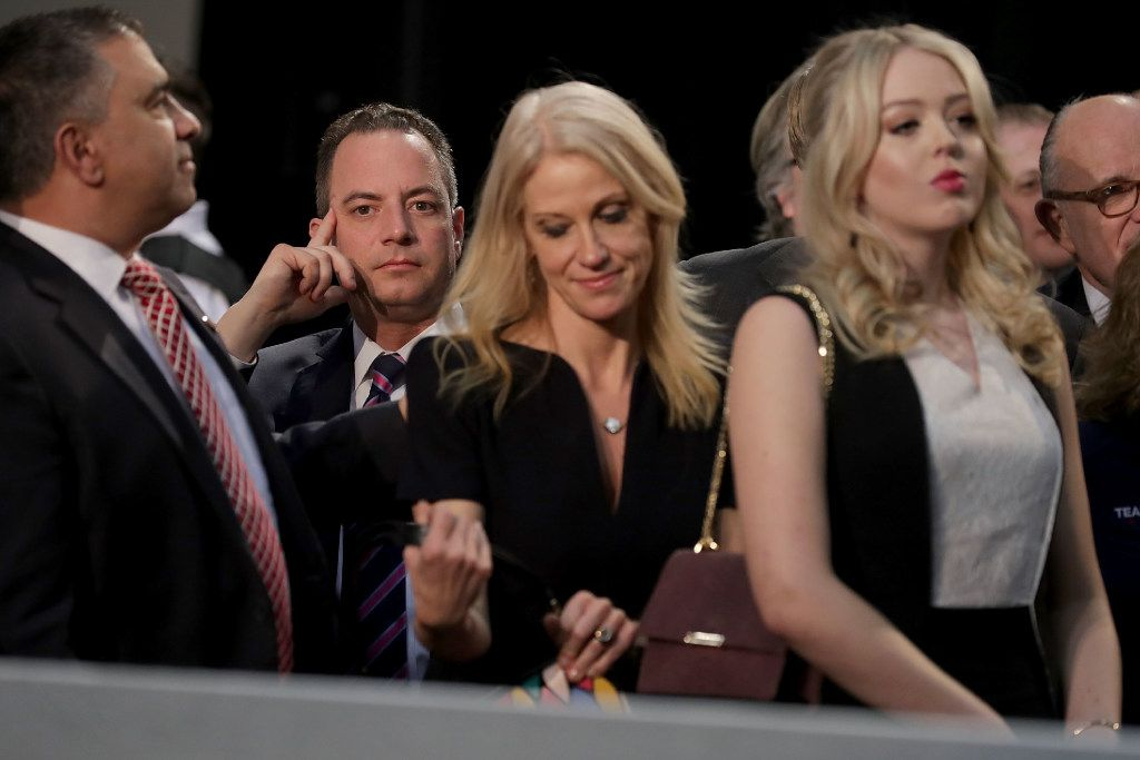 GRAND RAPIDS, MI - NOVEMBER 08:  (2nd L-R) Republican Party Chairman Reince Priebus, Republican presidential nominee Donald Trump's campaign manager Kellyanne Conway and Trump's daughter Tiffany Trump listen to his final campaign rally on Election Day in the Devos Place November 8, 2016 in Grand Rapids, Michigan. Trump's marathon last day of campaigning stretched past midnight and into Election Day.  (Photo by Chip Somodevilla/Getty Images)