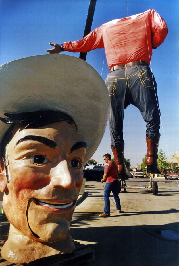 Big Tex's head and body, getting ready for the 1987 State Fair of Texas