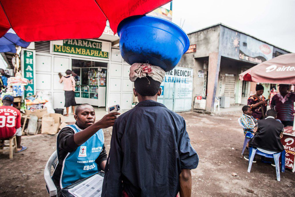 A man had his temperature checked in Goma, Congo, in July as part of the region's Ebola screening.