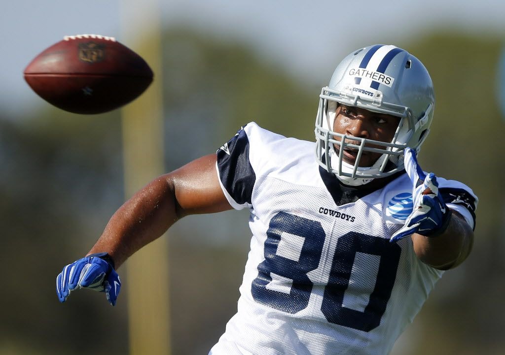 Dallas Cowboys tight end Rico Gathers (80) reaches for a pass during afternoon practice at training camp in Oxnard, California, Sunday, July 31, 2016. (Tom Fox/The Dallas Morning News)