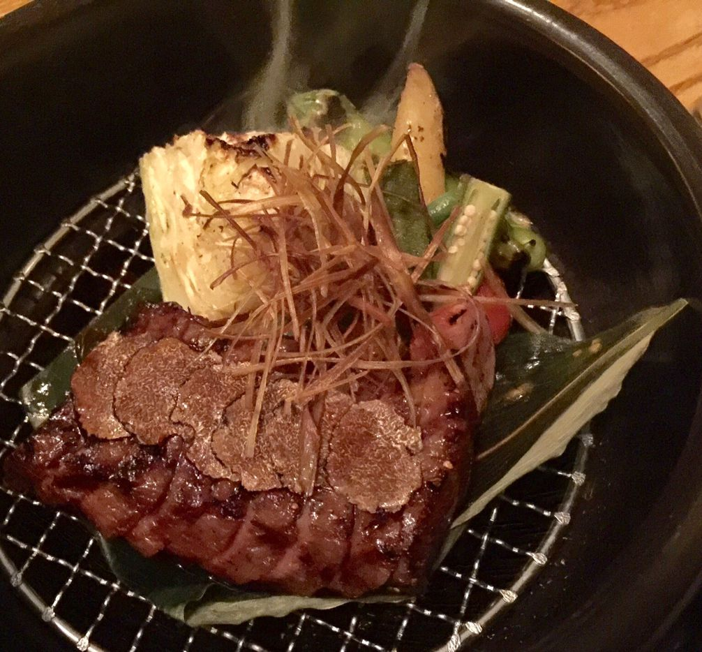 Smoked Wagyu sakura with shaved truffles and charred cabbage, a special at Nobu Dallas