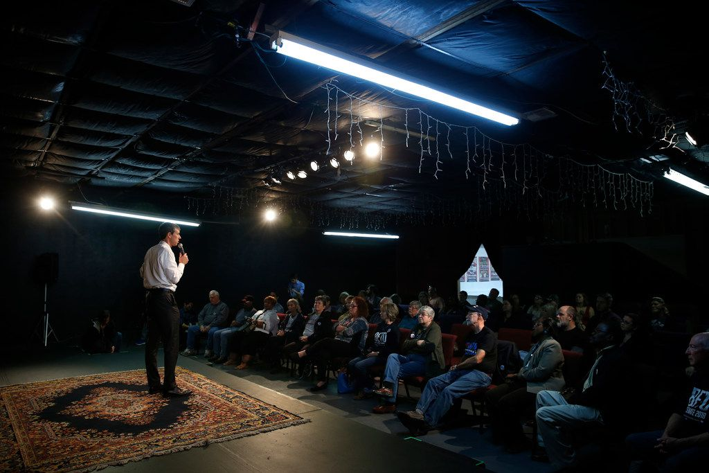 U.S. Congressman Beto O'Rourke makes a speech at the Emporium for the Arts in Woodville, Texas on Feb. 9, 2018. O'Rourke is running for the U.S. Senate. (Nathan Hunsinger/The Dallas Morning News)