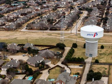 A water tower near High Mesa Drive in Plano, which was just ranked the third safest city in the country in a new report from WalletHub.