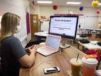 Lauren Martinez, a fifth grade teacher at Northwood Hills Elementary, began the school year teaching virtually in Richardson ISD as schools navigate the lessons during the pandemic.