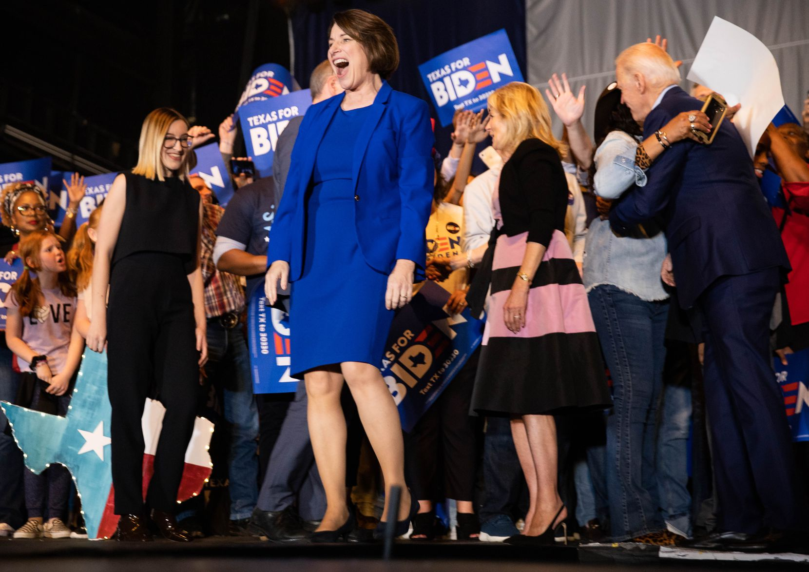 Sen. Amy Klobuchar (D-MN) endorses Democratic presidential primary candidate Joe Biden during a rally for Biden held at Gilley's in Dallas on March 2, 2020.