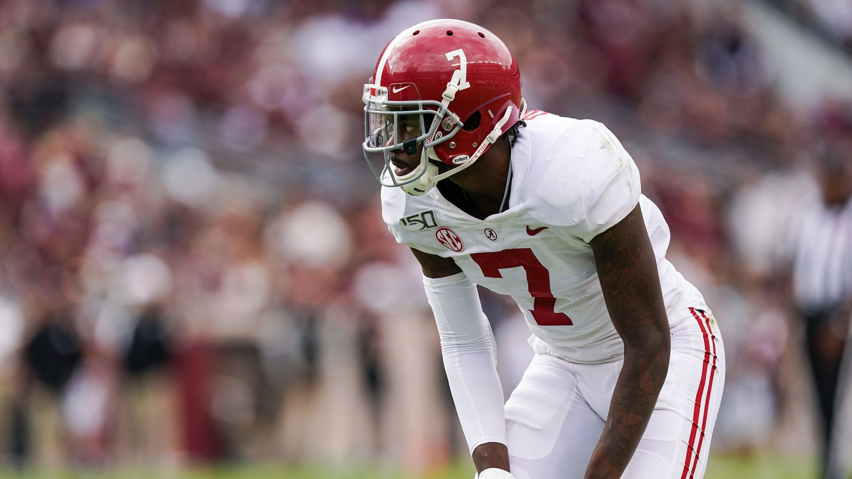 COLLEGE STATION, TX - OCTOBER 12: Alabama Crimson Tide defensive back Trevon Diggs (7) lines up during the college football game between the Alabama Crimson Tide and Texas A&M Aggies on October 12, 2019 at Kyle Field in College Station, Texas.