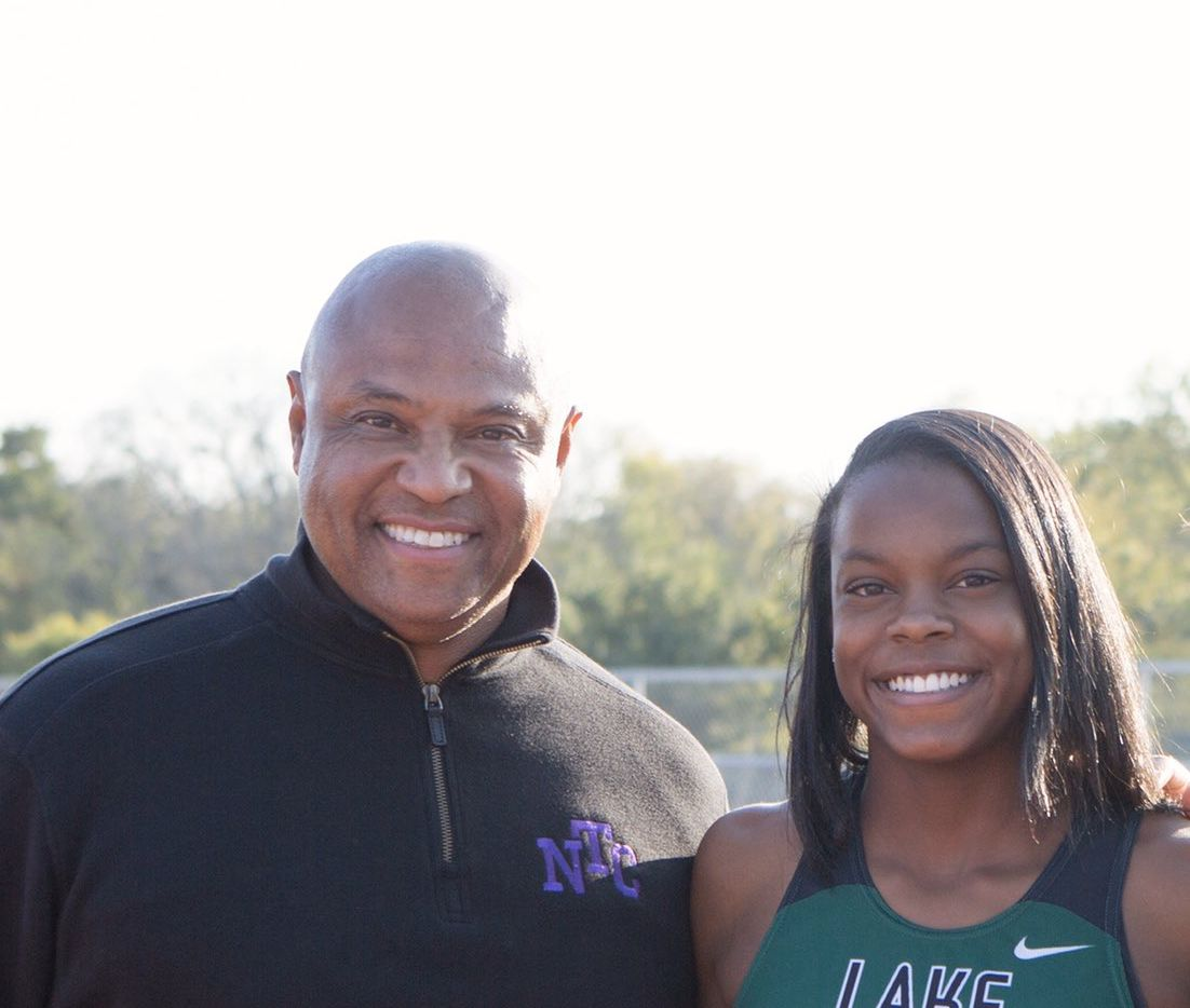 North Texas Cheetahs Track Club executive director and founder Orlando McDaniel (left) with former Mansfield Lake Ridge track and field star Jasmine Moore.