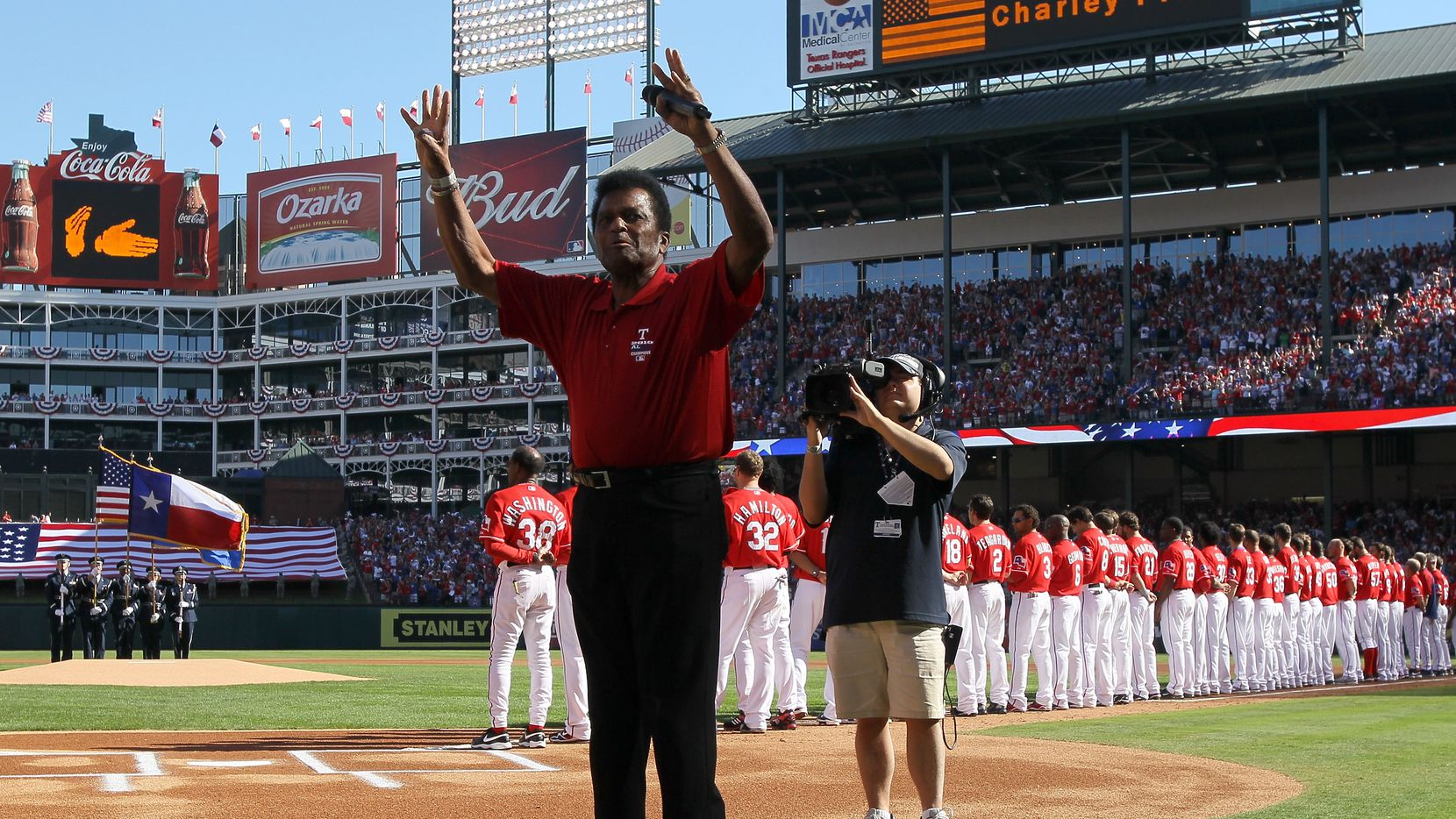FILE — Country singer Charley Pride waves after singing the national anthem before game three of the ALDS the Tampa Bay Rays and the Texas Rangers at Rangers Ballpark in Arlington on October 9, 2010 in Arlington, Texas.