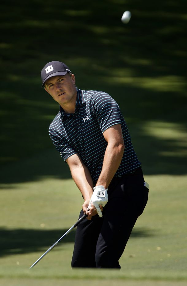 PGA Tour golfer Jordan Spieth chips onto the No. 7 green during the second round of the Charles Schwab Challenge at the Colonial Country Club in Fort Worth, Friday, June 12, 2020.  The Challenge is the first tour event since the COVID-19 pandemic began. (Tom Fox/The Dallas Morning News)