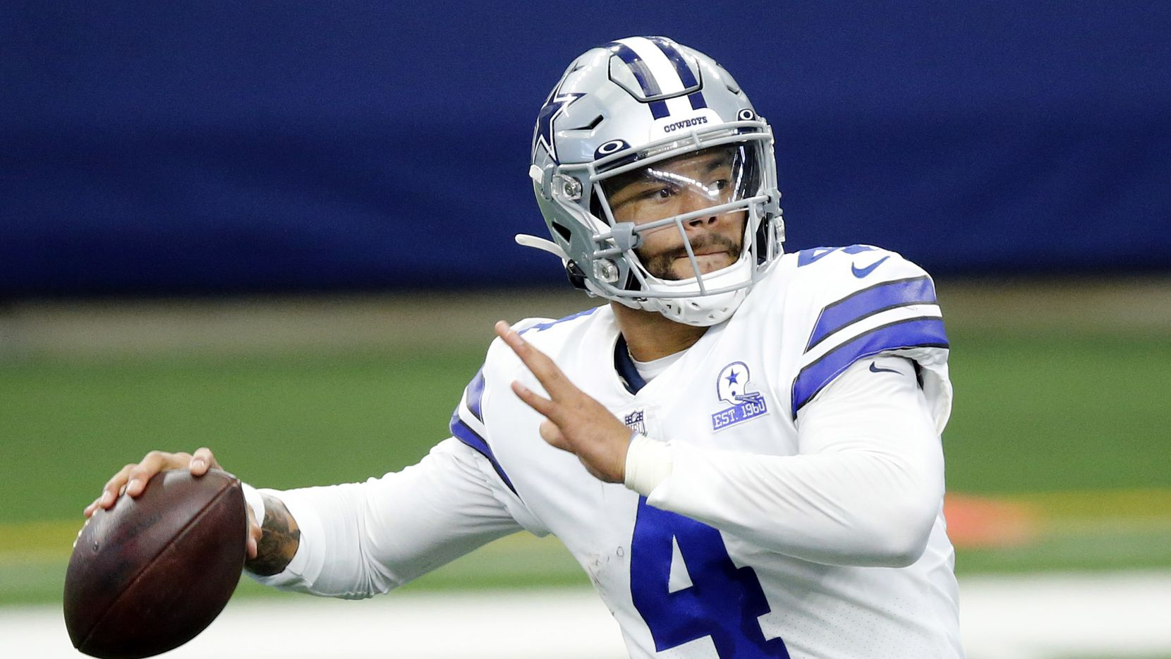 Dallas Cowboys quarterback Dak Prescott (4) throws a fourth quarter pass against the Cleveland Browns at AT&T Stadium in Arlington, Texas, Sunday, October 4, 2020.