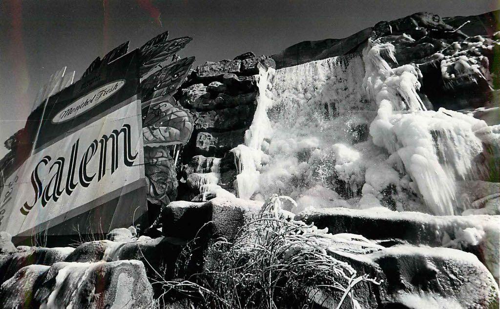 Waterfall billboard with frozen water in 1976.
