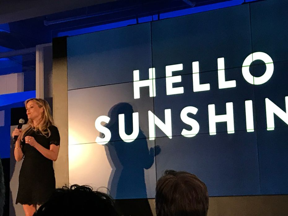 Actress Reese Witherspoon made a surprise appearance at the DirecTV Now launch to talk about Hello Sunshine, her production company that's focused on developing female-driven content, including TV shows, films and podcasts. (Melissa Repko/Dallas Morning News)