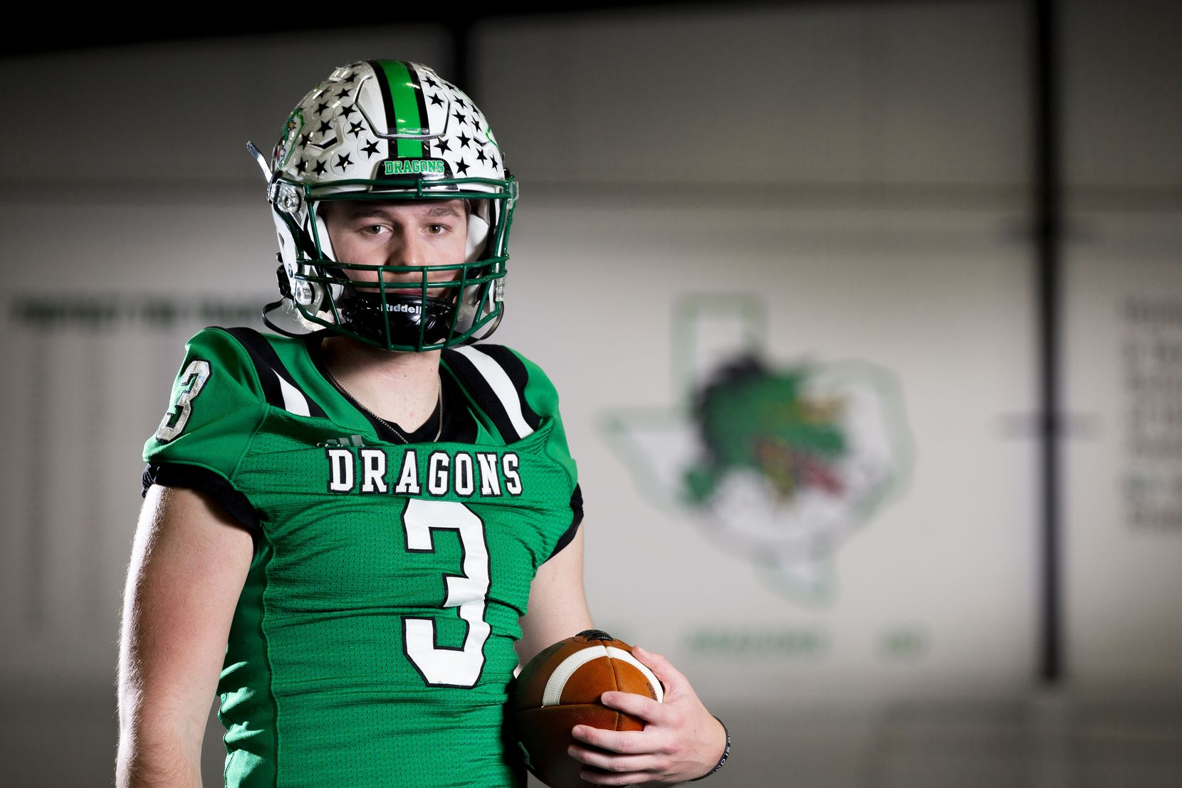 Southlake junior quarterback Quinn Ewers poses for a photo at Southlake High School, Tuesday, February 2, 2021.  Ewers is the No. 1 recruit in the country for the 2022 class and has committed to The Ohio State. (Brandon Wade/Special Contributor)