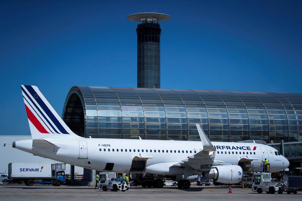 An Air France plane sits on the tarmac of Roissy-Charles de Gaulle Airport, north of Paris.