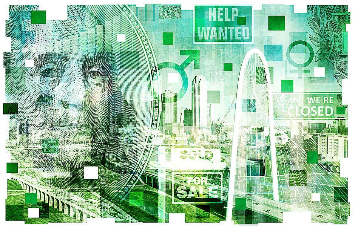 Ilustración con imágenes de elementos de la economía del Norte de Texas.