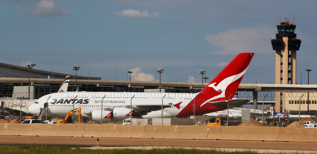 Qantas Airlines airplane parked on the tarmac at DFW International Airport on Wednesday, August 23, 2017. (David Woo) The Dallas Morning News)