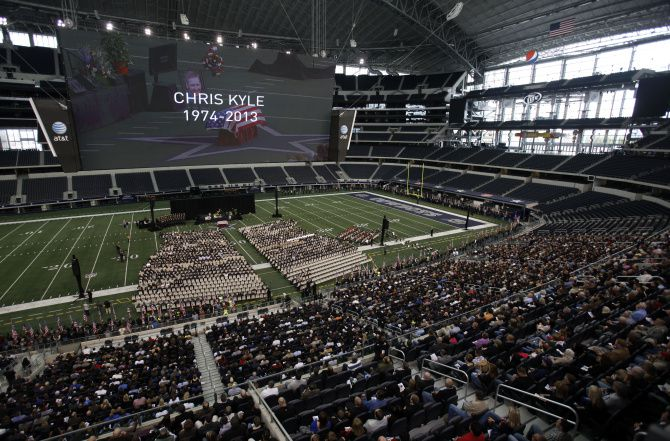 Thousands of people attended a memorial service for Chris Kyle at AT&T Stadium.