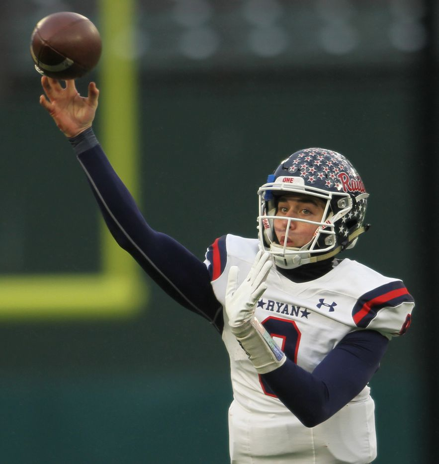 Denton Ryan quarterback Seth Henigan (9) launches a pass downfield during first half action against Highland Park. The two teams played their Class 5A Division l Region ll final football playoff game at Globe Life Park in Arlington on January 1, 2021. (Steve Hamm/ Special Contributor)