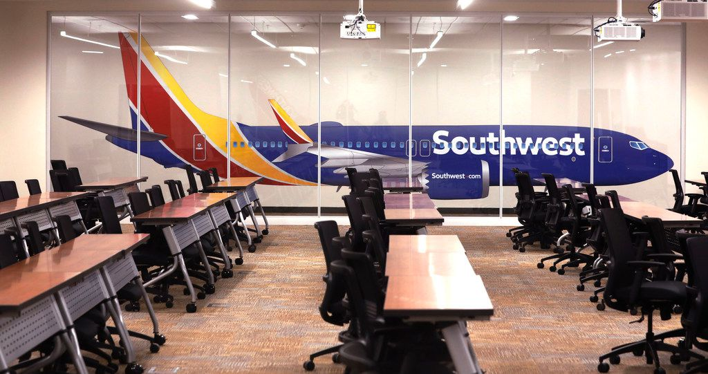 A training room at Southwest Airlines' corporate campus in Dallas.