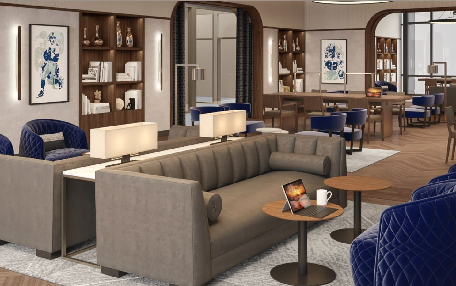 The Dallas Cowboys' new Formation  coworking center in Frisco includes private lounge areas.