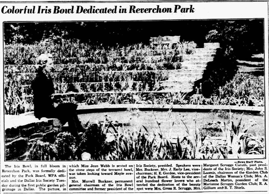 Photograph of the newly minted Iris Bowl, published in The Dallas Morning News on April 20, 1938.