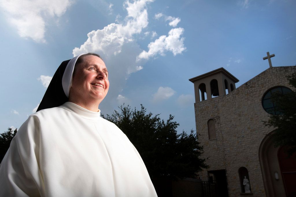 Sister Mary Anne Zuberbueler, the new principal of Mary Immaculate Catholic School, poses for a portrait on Aug. 5, 2019 outside Mary Immaculate Catholic Church, which sits adjacent to and is affiliated with the school, in Farmers Branch.