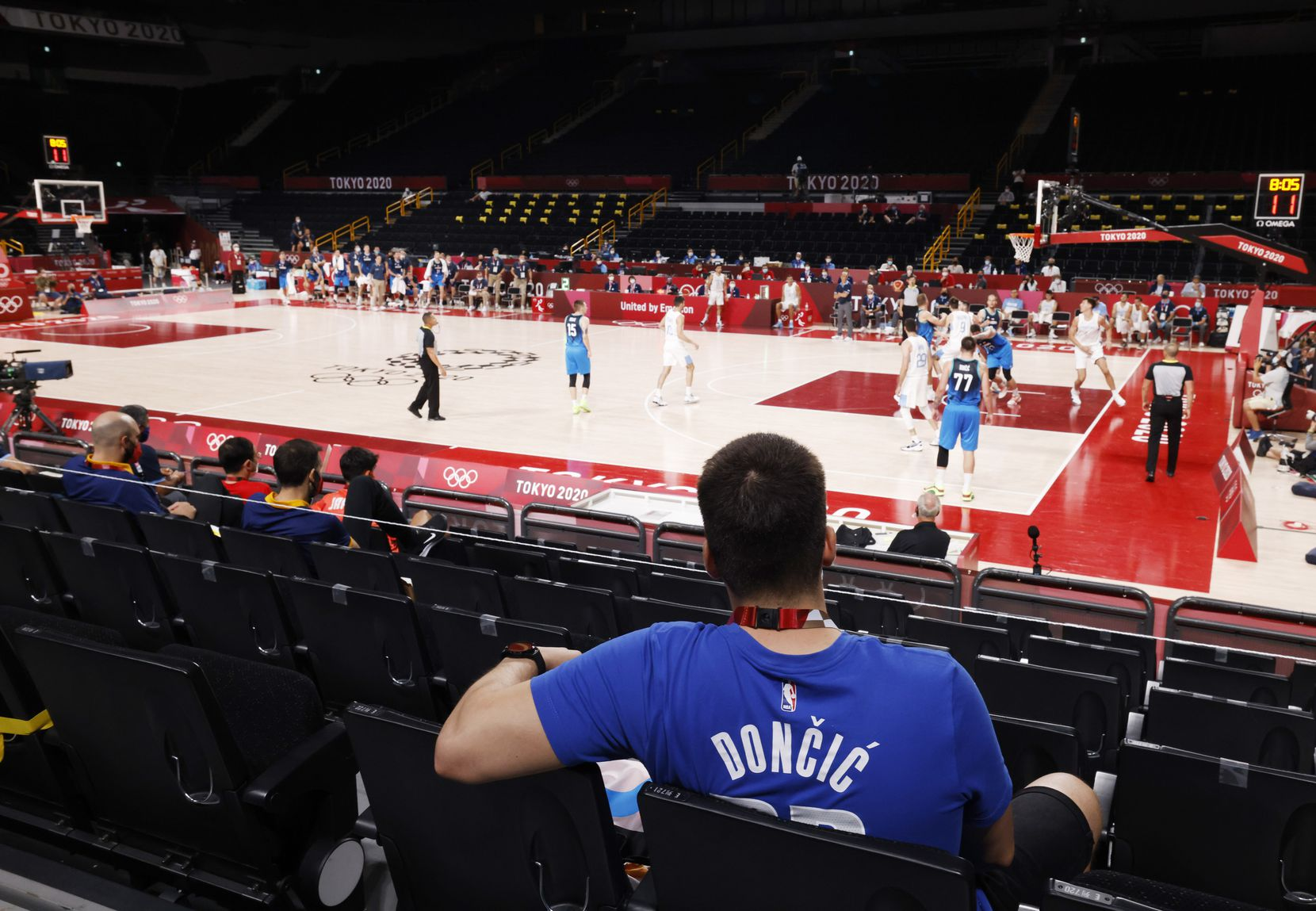 Luka Doncic fan Kristof Korsos of Hungary watches Slovenia play Argentina in the second half during the postponed 2020 Tokyo Olympics at Saitama Super Arena on Monday, July 26, 2021, in Saitama, Japan. Slovenia defeated Argentina 118-100. (Vernon Bryant/The Dallas Morning News)