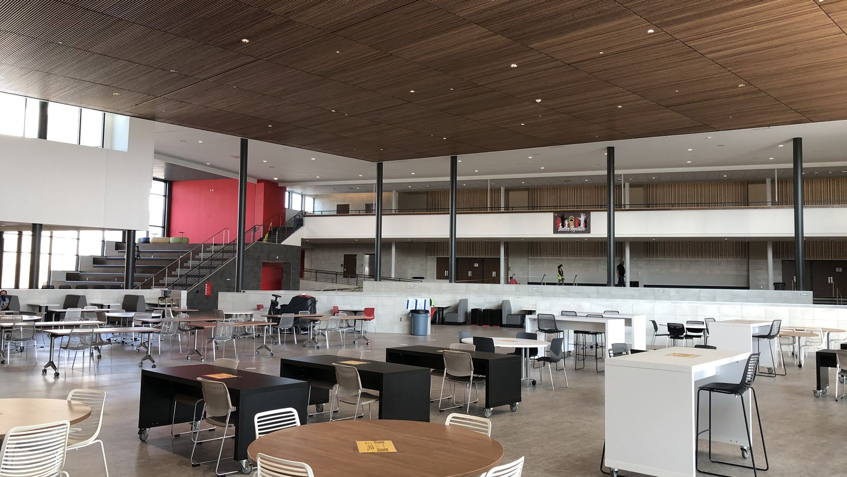 A 144,000-square-foot addition at Lake Highlands High School in Dallas, part of the Richardson school district,  connects the ninth-grade center with the existing high school facility and provides an expanded cafeteria and kitchen, commons spaces, and a new library.