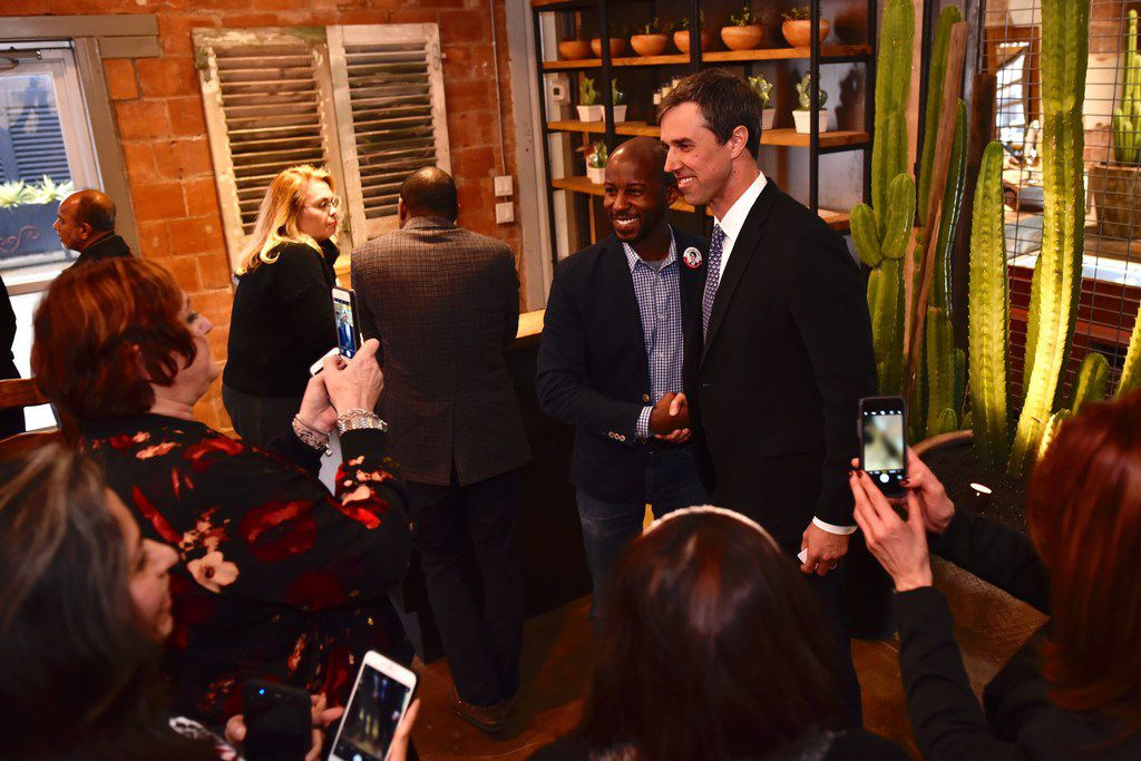 Brandon Vance (left), vice president of the Stonewall Democrats, met with Democratic Senate candidate Beto O'Rourke at Mercado Artesanal before a town hall at the Texas Theater in Oak Cliff in February.