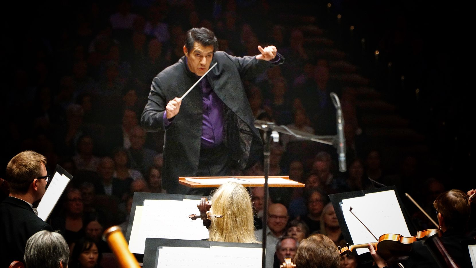 Miguel Harth-Bedoya directs the Fort Worth Symphony Orchestra on opening night of the 2019-20 season at Bass Performance Hall in Fort Worth on Sept. 13, 2019.