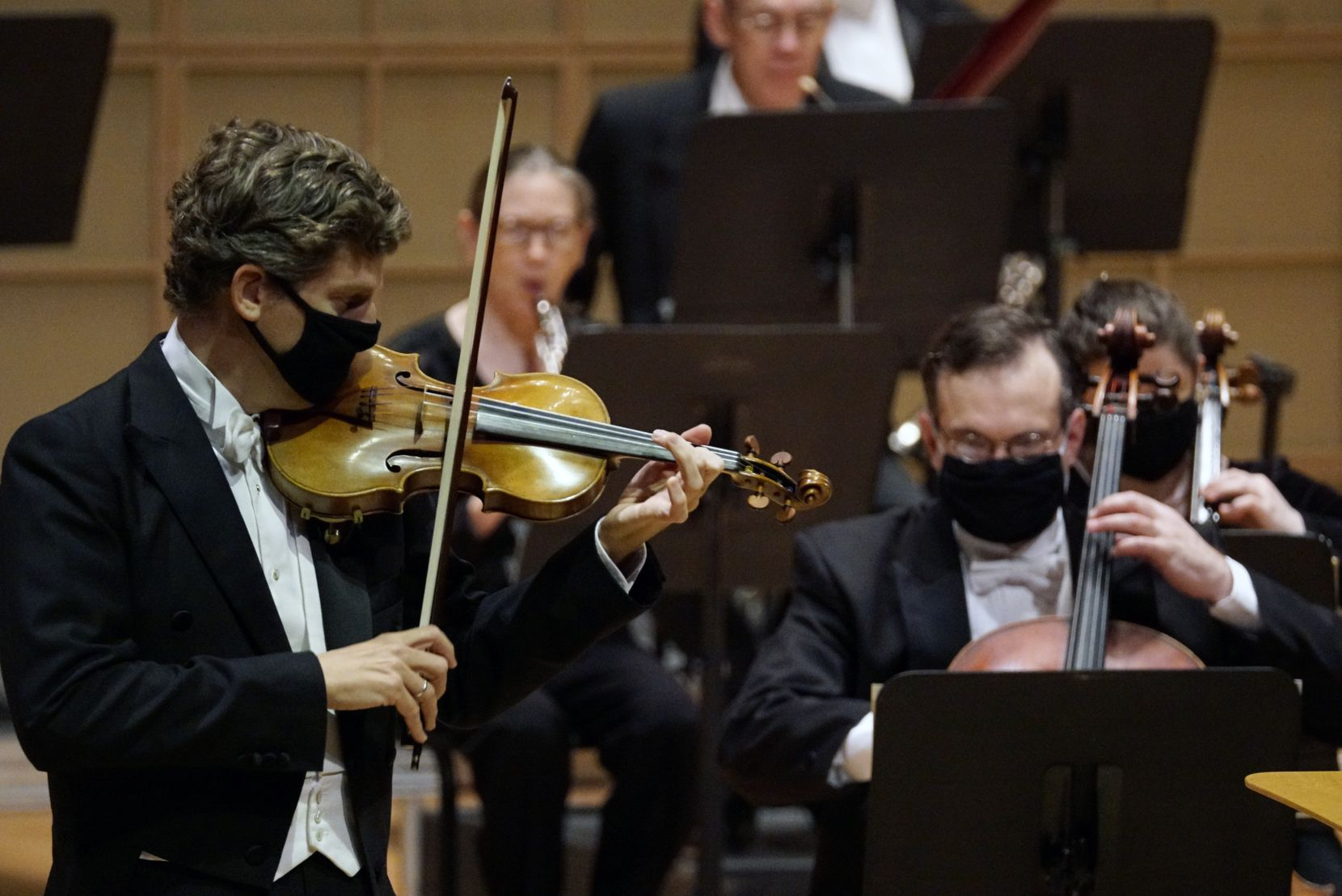 Violinist James Ehnes performs with the Dallas Symphony Orchestra at the Meyerson Symphony Center in Dallas, Texas on March 11.