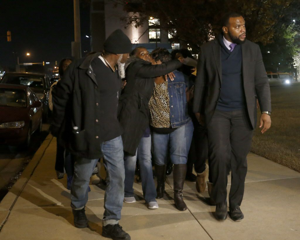 Family members of Jacqueline Craig, who was taken to the ground by the Fort Worth police officer yesterday, leave the protest against police brutality at Tarrant County Courthouse in downtown Fort Worth, Texas, Thursday, Dec. 22, 2016.  (Jae S. Lee/The Dallas Morning News)