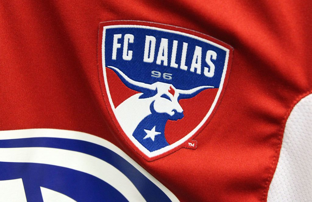 The team logo on the Adidas game jersey for the FC Dallas swag project photographed on Thursday, July 4, 2013.