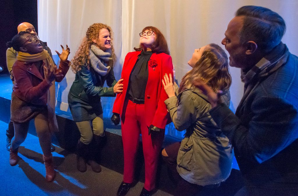 A scene from the opening minutes of Everybody at Stage West in Fort Worth. Actors, from left: Jovane Caamano, Bwalya Chisanga, Megan Haratine, Amy Mills, Olivia Cinquepalmi and Mark Shum.