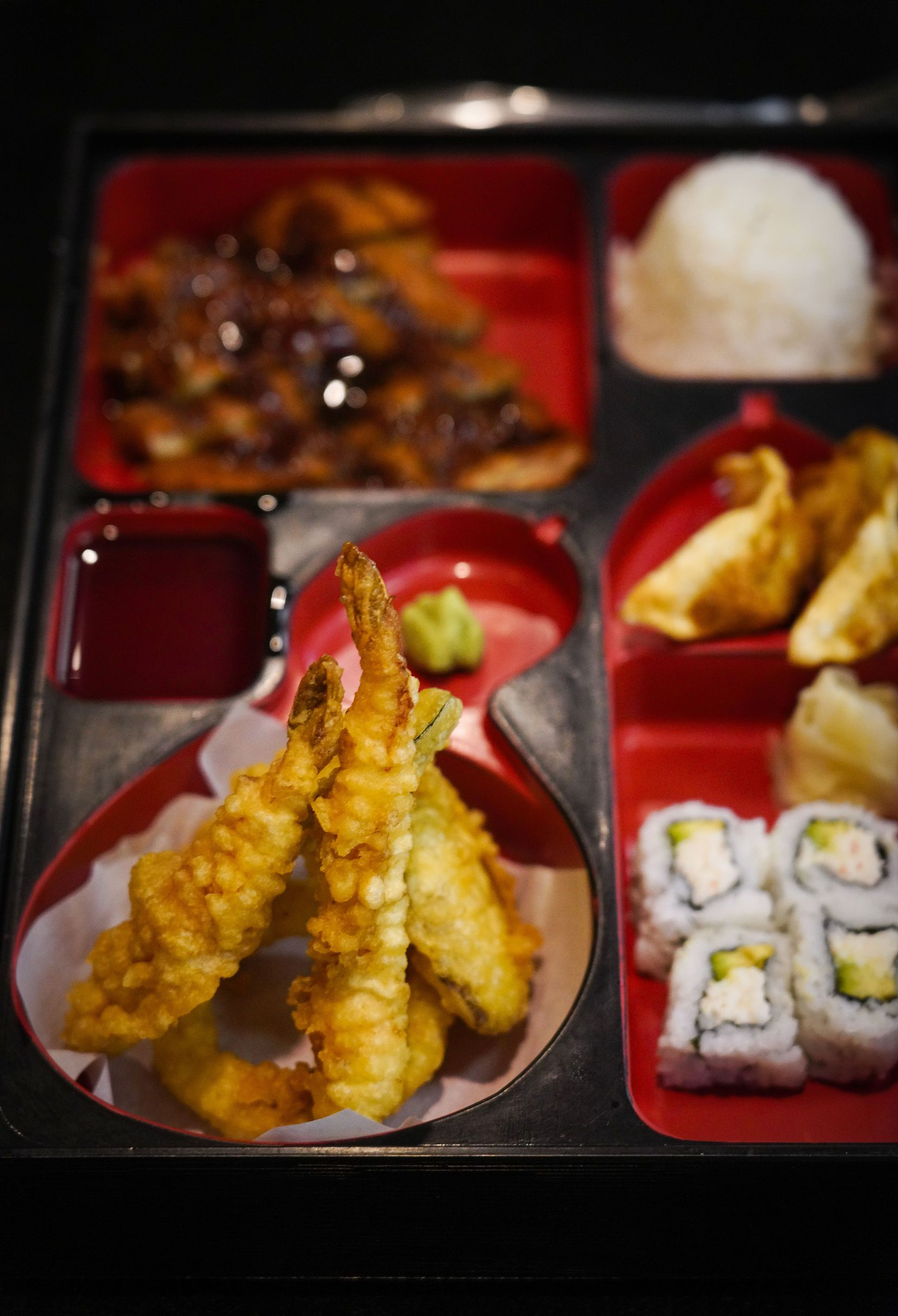 A bento box is brought out for a customer at Sushiya restaurant April 15. A video on TikTok went viral and led to a surge in business for the struggling restaurant.