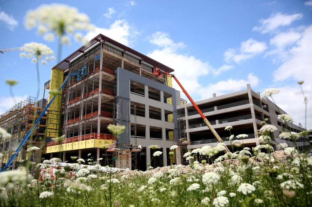The construction of Legacy West urban village in May continues the buildup along Legacy Drive in Plano.