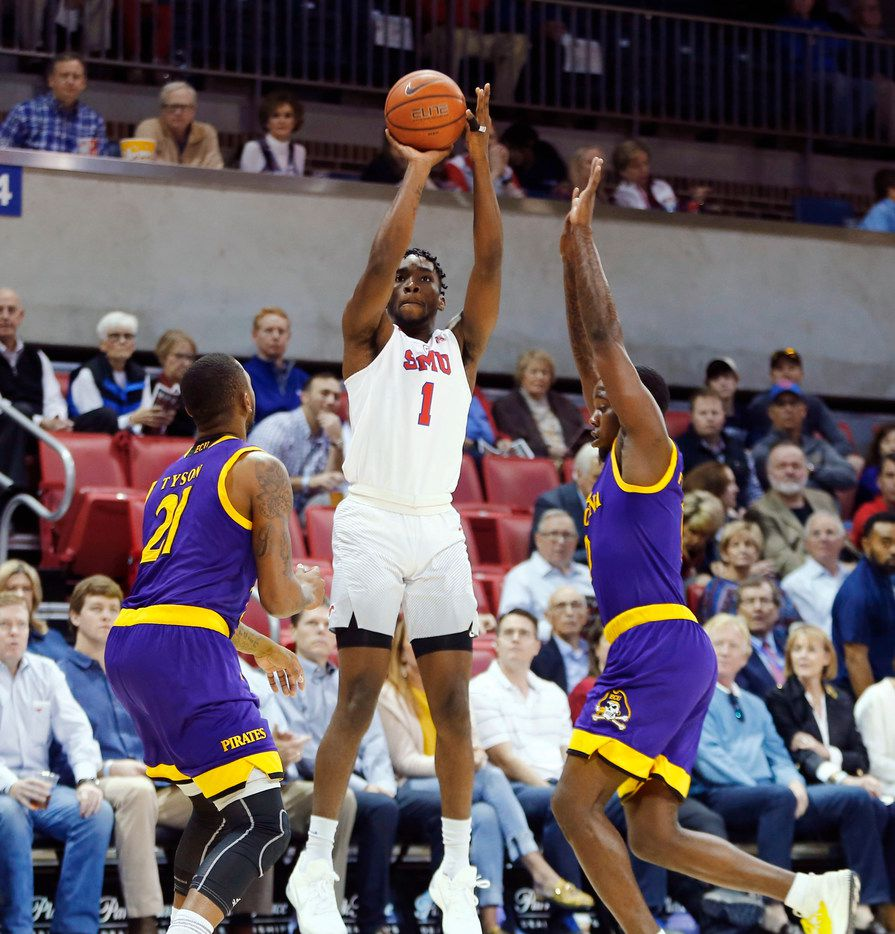Southern Methodist Mustangs guard Shake Milton (1) shoots the ball over East Carolina Pirates guard B.J. Tyson (21) during the first half of their game at Moody Coliseum in Dallas on Jan. 28, 2018. (Nathan Hunsinger/The Dallas Morning News)