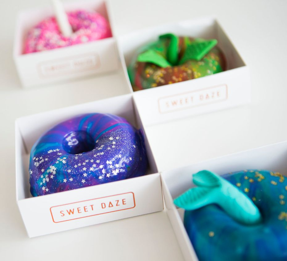 Sweet Daze's doughnuts are often bright in color and dusted with glitter.