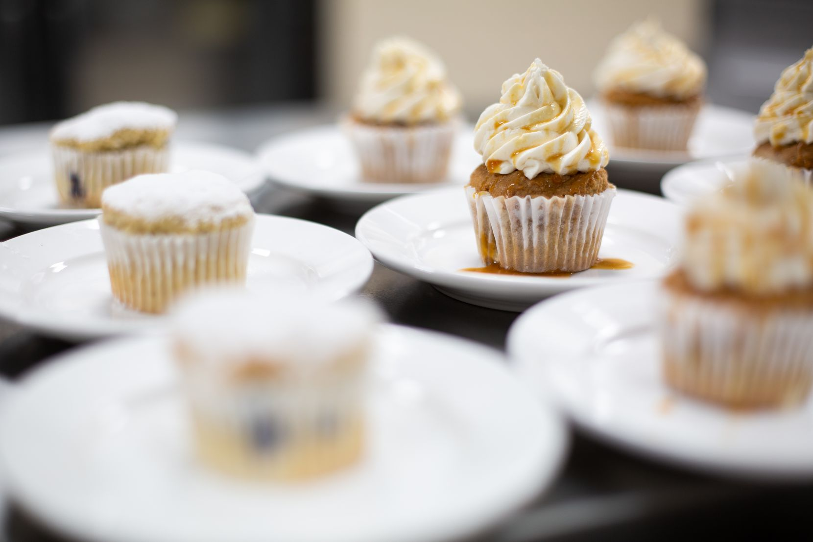 Cinnamon apple cupcakes come topped with dairy-free cream cheese frosting. We tried one: They're tasty.
