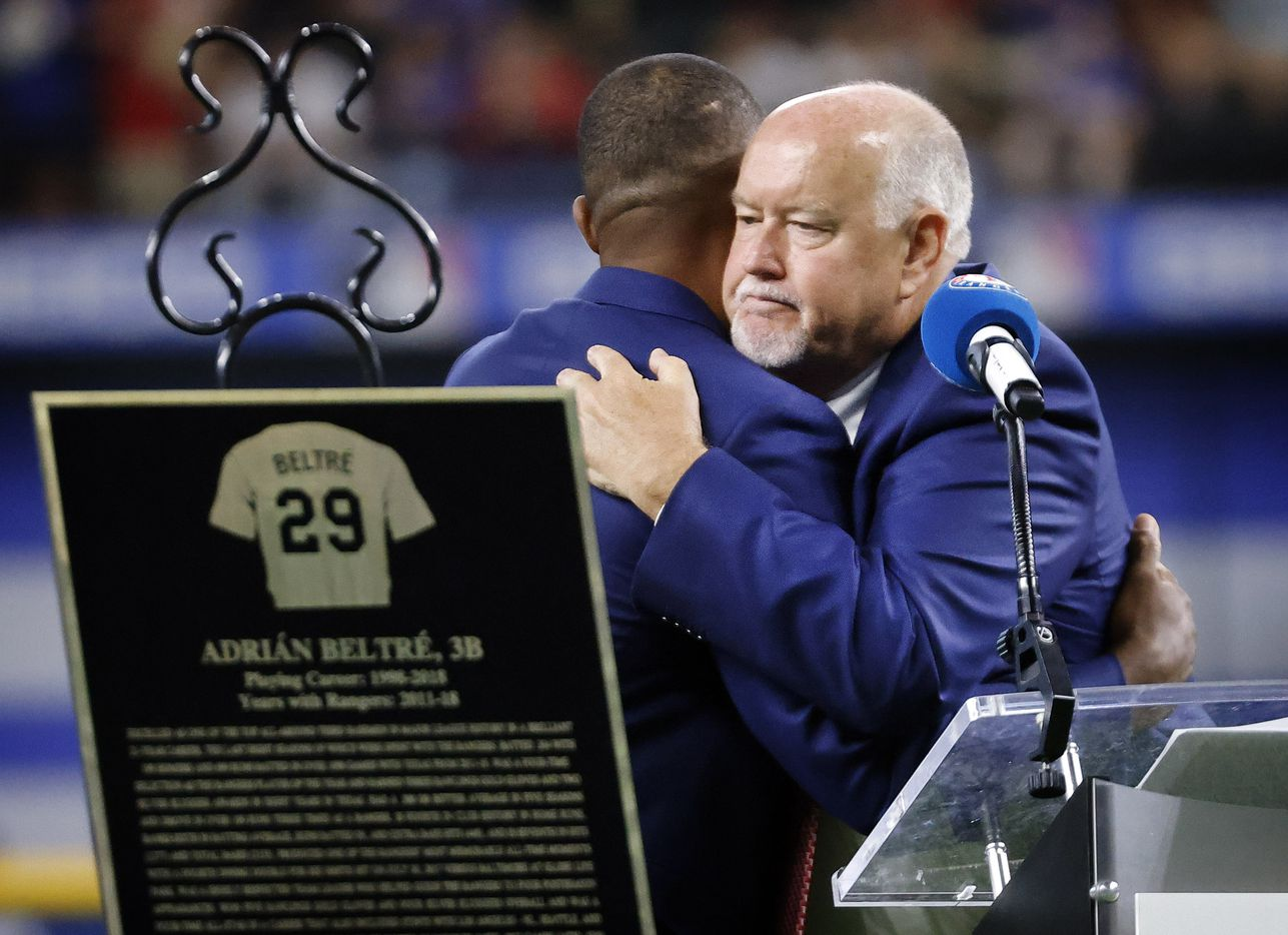Former Texas Rangers third baseman Adrian Beltre (left) and Rangers vice president and public address announcer Chuck Morgan congratulate one another on being inducted into the Texas Rangers Baseball Hall of Fame at Globe Life Field in Arlington, Saturday, August 14, 2021.