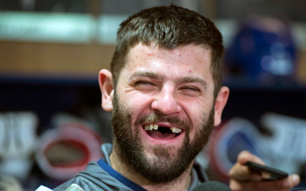 FILE - In this April 24, 2017, file photo, Montreal Canadiens' Alexander Radulov, of Russia, laughs as he talks with reporters in Brossard, Quebec. A combination of factors has made the NHL assimilation for Russian players quicker than ever. (Paul Chiasson/The Canadian Press via AP, File)