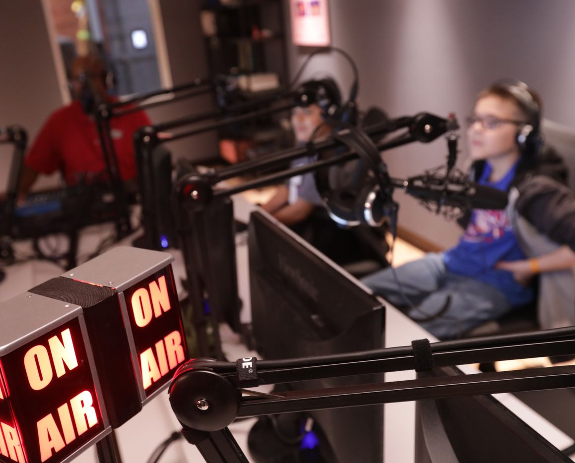 In KidZania's recording studio, kids learn about creating podcasts.