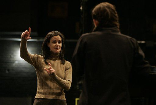Kimberly Grigsby, a 1991 graduate of Southern Methodist University, is now one of the busiest music directors and conductors on Broadway. She takes time off from her current show, Tony winner Spring Awakening, to return to her alma mater to give master classes on musical theater to current students. Shown here in 2008, Kimberly Grigsby, (left) works with Molly Murphy, a theater major at SMU.